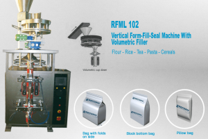 Vertical form-fill and seal machine with volumetric filler