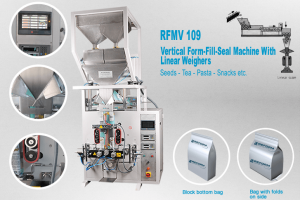 Vertical form fill, seal machine with 2 linear weigher