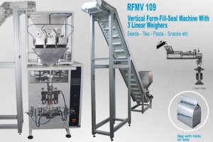 Vertical form fill & seal, machine with 3 linear weigher