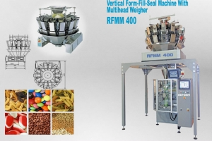 Vertical form fill, seal machine with multihead weigher